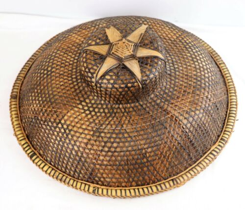 Vintage Rice Paddy Asian Hat Fieldworker Conical Sun Coolie Woven