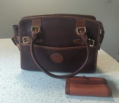 Vintage Dooney and Bourke brown handbag and wallet coin pebbled leather
