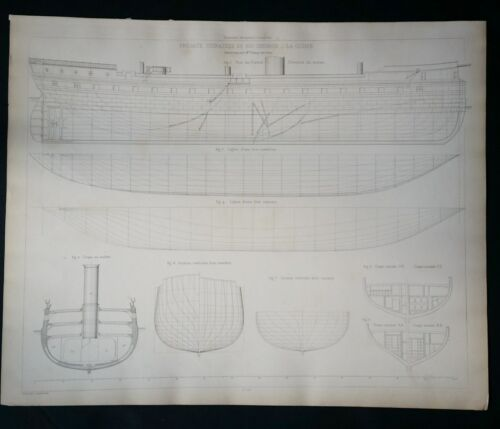 BLUEPRINT FRENCH NAUTICAL MUSEUM, Plan #183 Fregate SHIP, Geisendorfer 1890