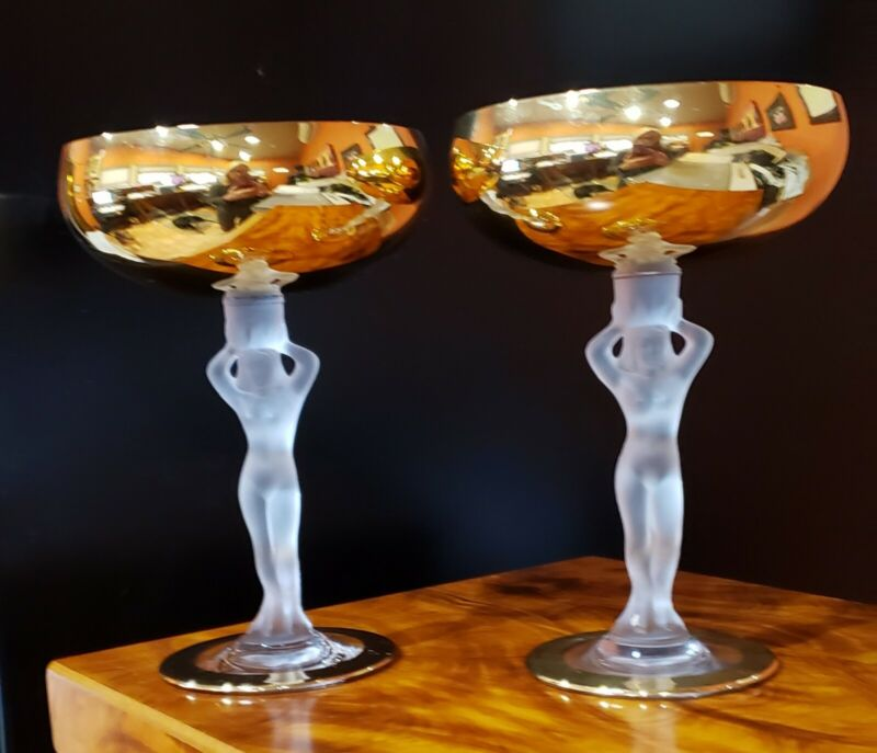 Bayel Bacchante Gold Nude Champagne Glasses (Set of 2)