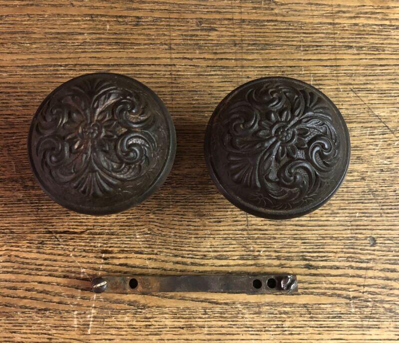"Antique Cast Iron Floral ""Marseilles"" Pattern Doorknobs By Lockwood, c1895"