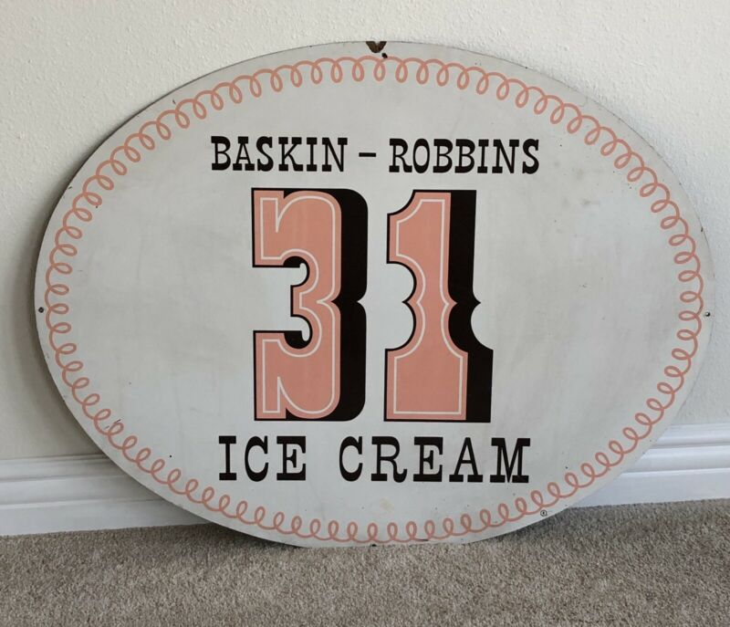 "Baskin Robbins 31 Flavors Vintage 36"" x 28"" Wood Sign 1960"
