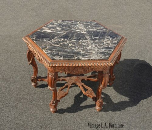 Antique French Louis XVI Ornately Carved Hexagon Marble Top Side End Table