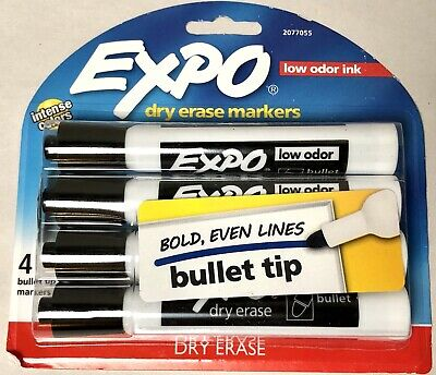Expo Low Odor Dry Erase Marker Bullet Tip Black 4 Pack Brand New Factory Sealed