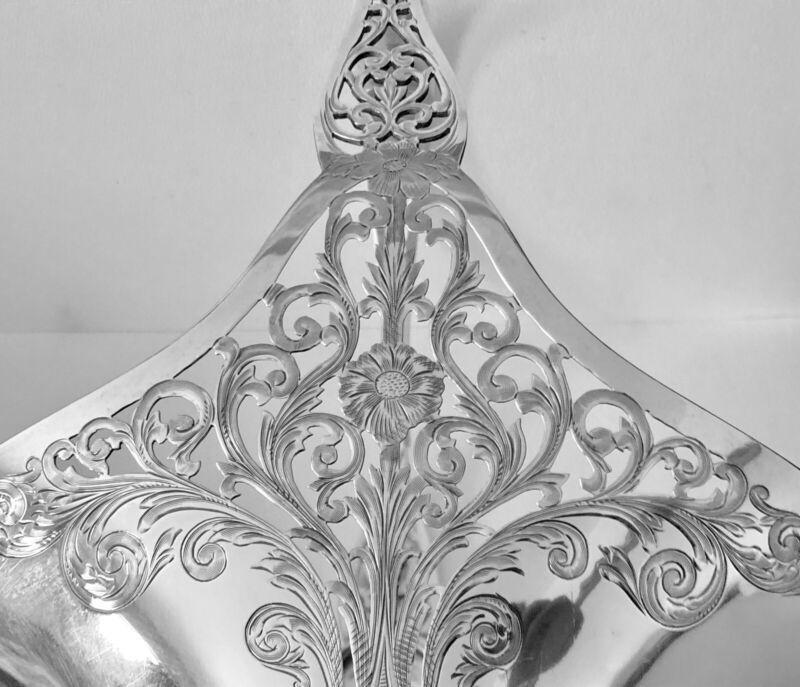 Antique 1920 Gorham Sterling Silver Flower CutWork Handl Basket Vase Centerpiece