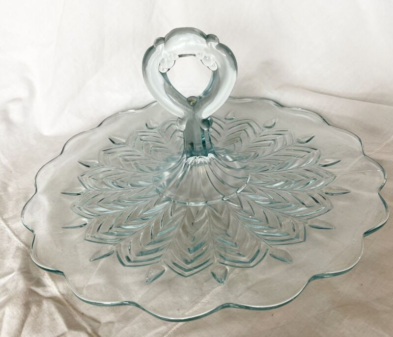 Vintage Jeanette Glass Feather Tidbit Sandwich Serving Tray Dish Handle Ice Blue