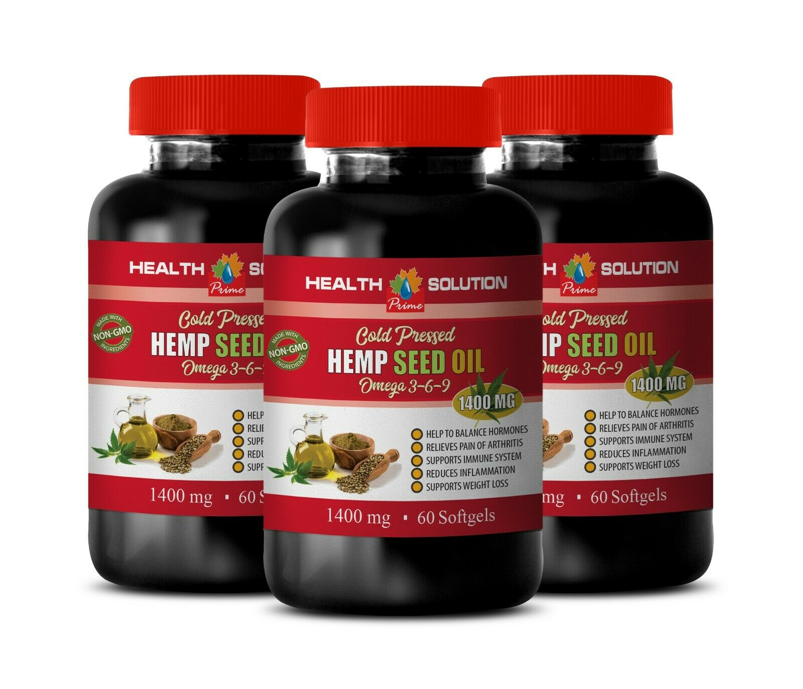 hemp seed oil supplement - ORGANIC HEMP SEED OIL 1400MG 3B- brain booster