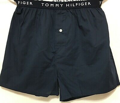 Tommy Hilfiger Button Fly Woven Boxer Medium 32-34 Dark Navy w/Hilfiger  (7221)