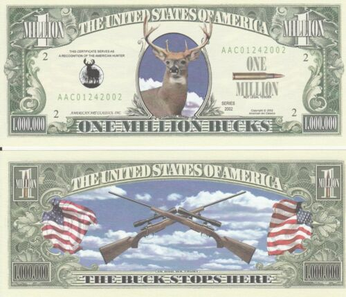 Buck Stops Here Million Dollar Bill Fake Funny Money Novelty Note + FREE SLEEVE