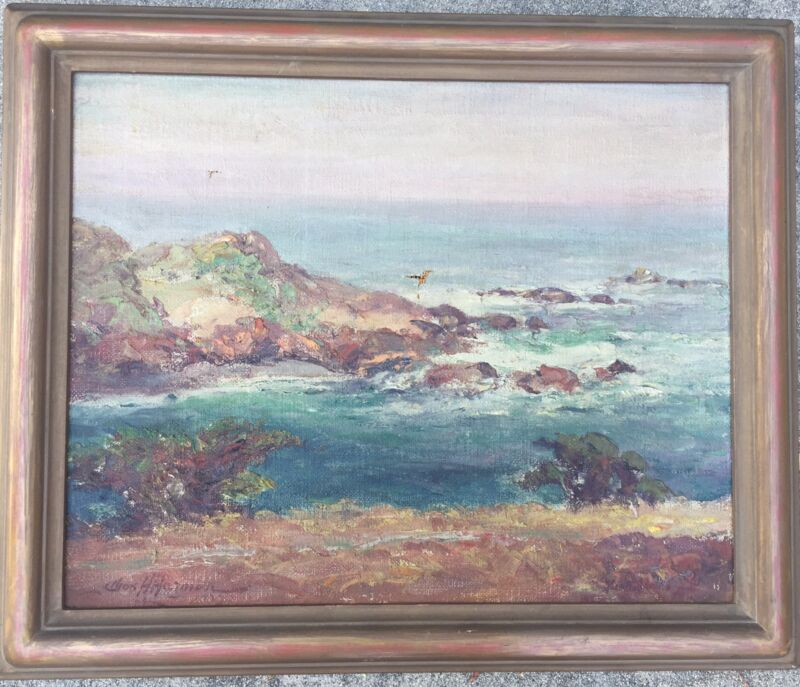 Antique Charles Chas Henry Harmon 1929 Seascape Oil Painting Arts & Crafts Frame