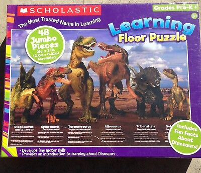 Dinosaur Scholastic Learning Floor Puzzle 48 Jumbo Pieces NEW! Fast Shipping!