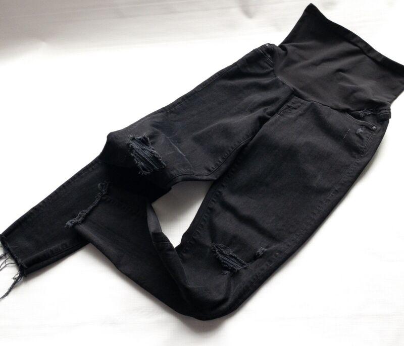 Mother Denim Maternity Jeans Black Distressed Stretch 29 Full Panel