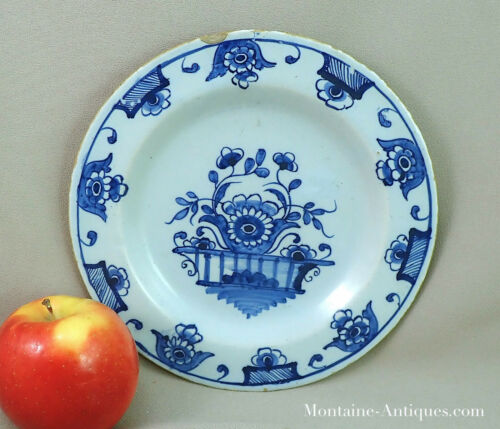 Antique Blue Delft Plate 18th Century