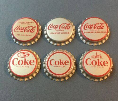 6 Vintage Coke/Coca Cola cork lined soda bottle caps 6 different unused