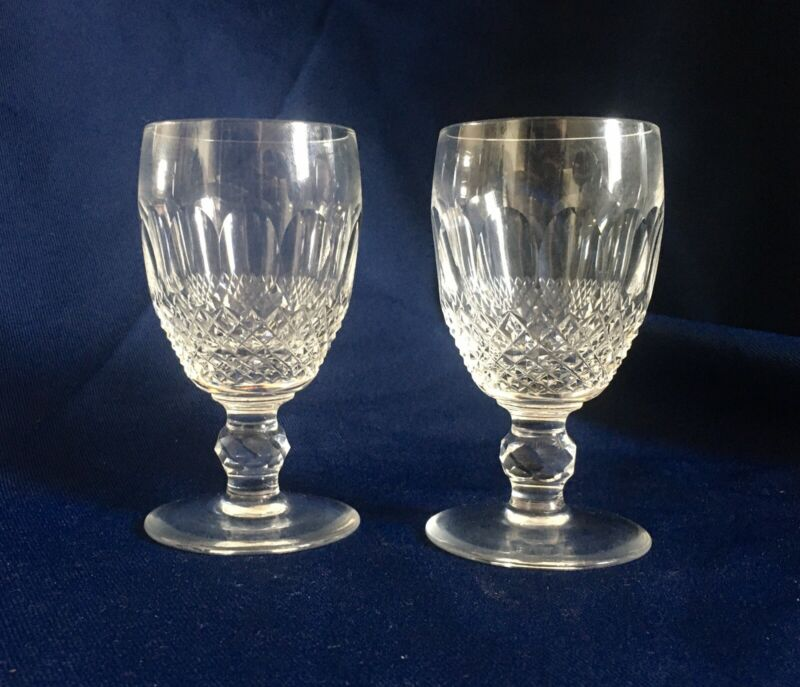 "Set ""Waterford"" Crystal Colleen Pair 2 Port Wine Glasses"