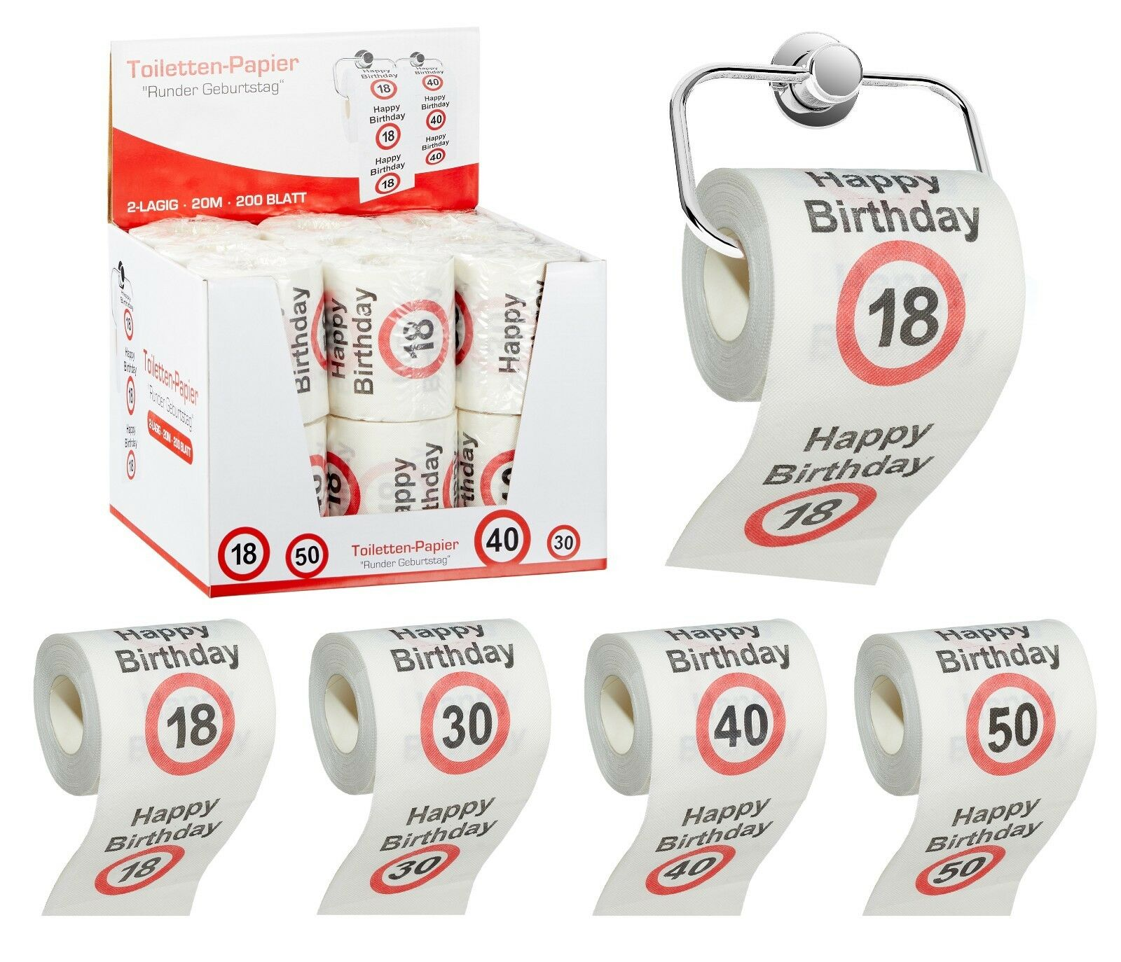 Toilettenpapier 18 30 40 50 Runder Geburtstag Geschenk Klopapier 127279813