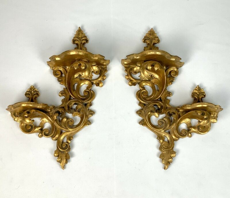 Antique Pair Italian Double Shelf Acanthus Leaf Rococo Gilt Wood Wall Shelves