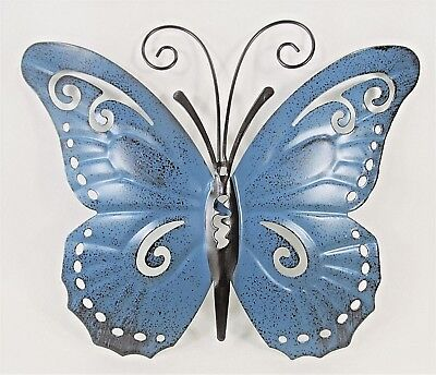 Butterfly Hand Painted Metal Wall Art Yard & Garden Home Decor (A) Butterfly Garden Wall Art