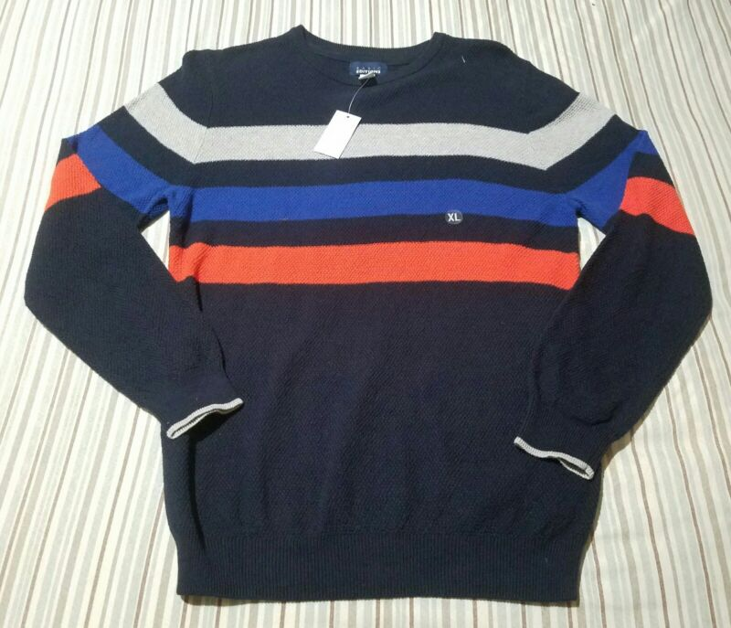 NWT Boys Basic Editions Crew Neck Striped Sweater - Navy/Multicolor - Size 14/16