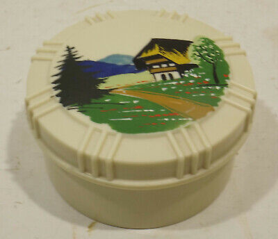 Decorative 50/60er Years Covered Dish with Forest House/Landscape Illustration