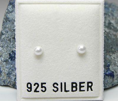 NEU 925 Silber OHRSTECKER 4mm PERLEN in weiß PERLENOHRRINGE OHRRINGE