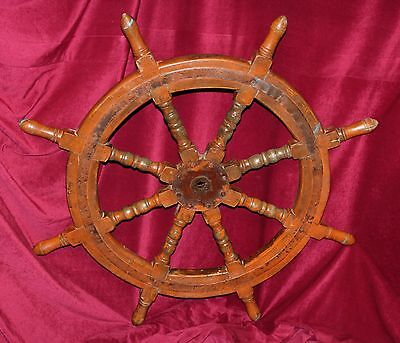 Solid Wood & Iron Ship's Helm Steering Wheel, Circa Early 20th Century