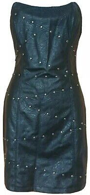 Biker Chick Look Halloween (New Black Leather Look Party Cocktail Evening Dress Size)