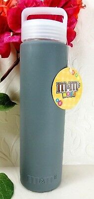 M&M World Glass Water Bottle W/ Gray Silicone Sleeve & Twist Off Cap NWT Free Sh