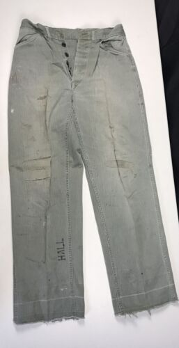 Old Vintage WWII US Marine Corps USMC P41 HBT Fatigue Pants RRL Distressed Rag
