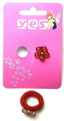2 Stück süße Mädchen mini Haargummis Haarbinder Zopfgummi rote Blume Glitzer (Süße Rote Binder)