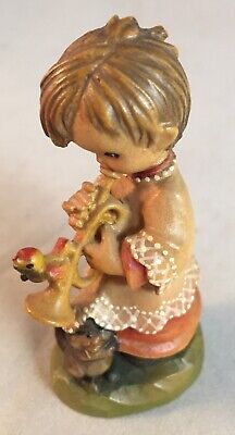 "ANRI Carved Wooden Figurine Ferrandiz Girl Playing Trumpet Cat Bird Rare 3 1/4"""
