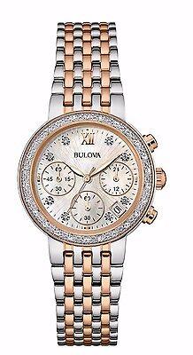 Bulova Women's  Maiden Lane Diamond Accents Chronograph 30mm Watch 98R215