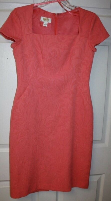 Womens Ladies Talbots Pink Floral Cap Sleeve Knee Length Dress Size 2 Petites