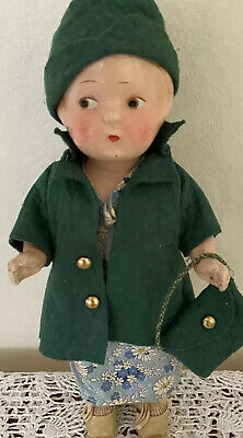 """1930s Handbags and Purses Fashion Antique 1930s Patsy Type Composition Doll 11"""" Matching Coat Hat Purse Green $52.00 AT vintagedancer.com"""