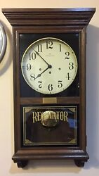 Hamilton Regulator Wall Clock Westminster Chime w/ Key Vintage Large Wood Case