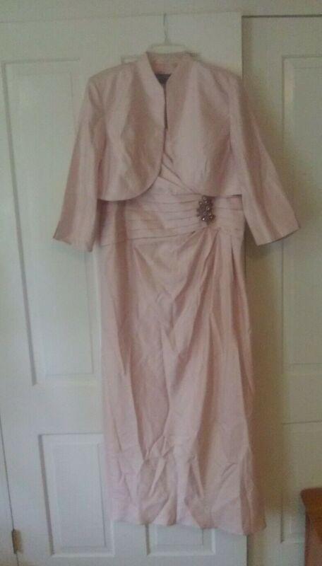 Jessica Howard Mother Of The Bride Dress Bolero Set 18W Plus Size Light Pink