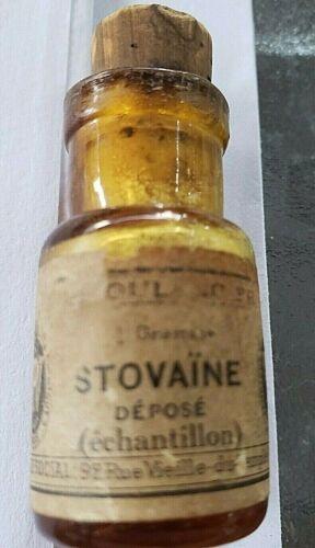 EXTREMELY RARE BOTTLE OF STOVAINE A 19TH CENTURY ANESTHETIC
