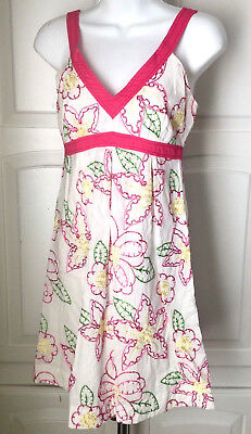 $298 LILLY PULITZER SZ 4 AMBER FRUIT PUNCH EMBROIDERED EMPIRE LINED DRESS EUC