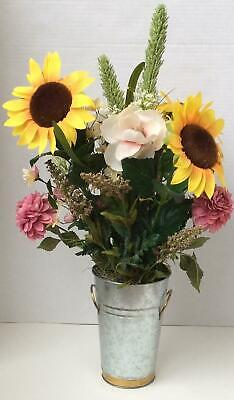 Artificial Sunflowers, Flowers & Greenery Arrangement in Galvanized Milk Can Flower Arrangements Sunflowers