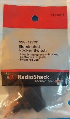 Radioshack Spst Illuminated Red Led Rocker Switch 2750018 Free Shipping