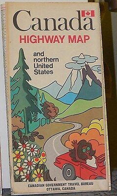 1970 Canada Highway Map and Northern United States