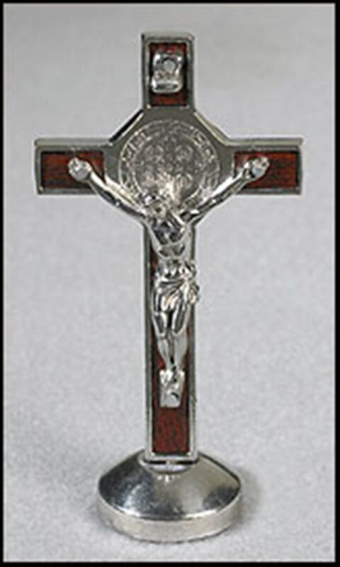 "SAINT BENEDICT STANDING CRUCIFIX MAGNETIC BASE 3.5"" TALL CROSS ST DEVOTION MIXED"