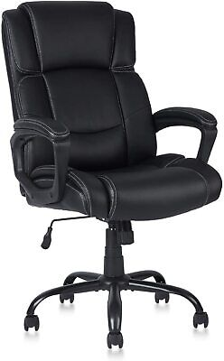 Executive Leather Office Chair Bonded Lumbar Support Adjustable Tilt Angle Desk