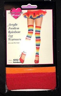 womens RAINBOW LEG WARMERS HALLOWEEN NEW NIP FITS 90 TO 165 POUNDS STRIPES CUTE! - Halloween Leg Warmers