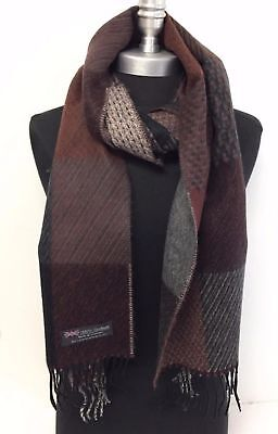 Men 100%CASHMERE SCARF Check Plaid Brown/Black/gray Scotland Soft Warm Wool Wrap