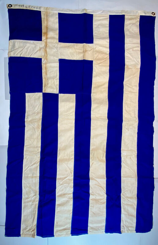 Greek  Ensign Nautical Flag Emerson 4'X6' WWII  Naval Maritime Vintage Large
