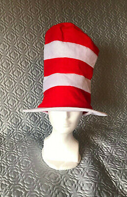 """Adult Dr. Seuss Cat in the Hat Top Hat, Halloween Costume, 8"""" dia. x 12"""" H"""
