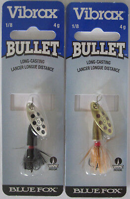 2 - BLUE FOX  Vibrax Bullet Fly Spinners - Size 0 (1/8 oz.) - Two Great Colors!