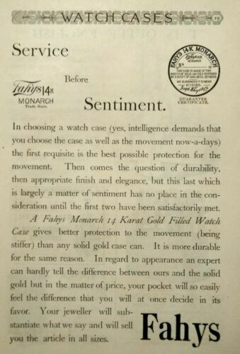 1893 SAG HARBOR  NY Joseph Fahys Monarch Pocket Watch Case Vintage Print Ad