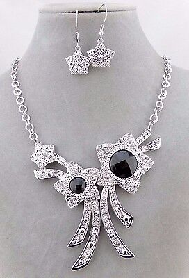 Star Flower Crystal Rhinestone Necklace Set Silver Black Fashion Jewelry NEW